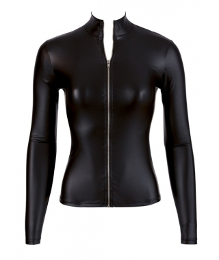 Wetlook Langarm-Top mit Zipper
